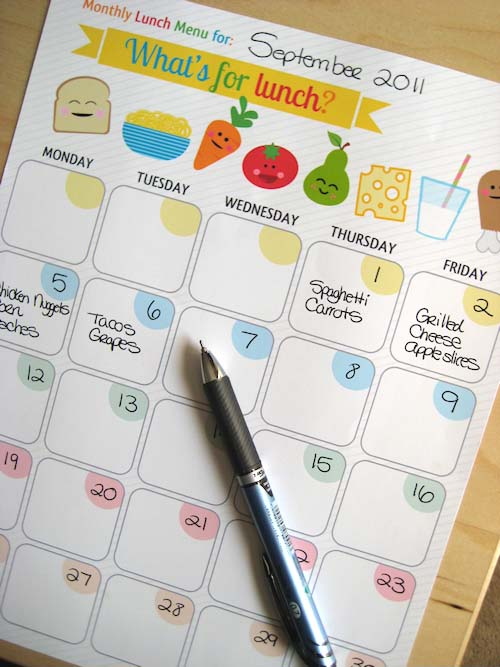 Weekday Lunch Menu Planner