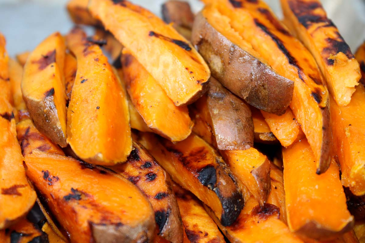 Grilled Sweet Potato Fries (Pre-Cook using Crock Pot)