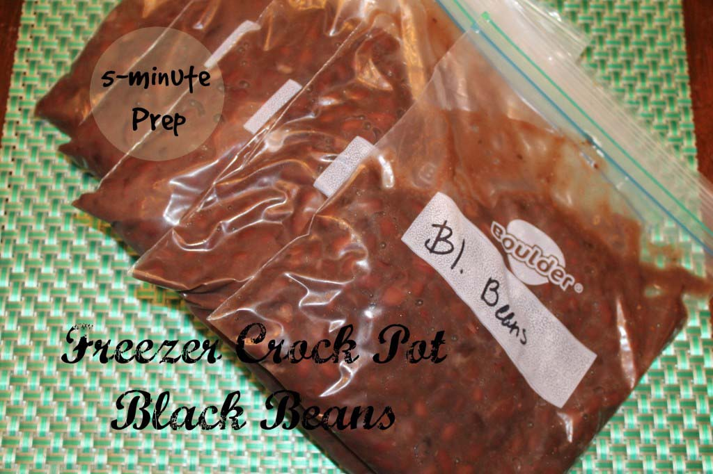 5 minute Crock Pot Freezer Black Beans and Whole Wheat Chocolate Chip Cookies