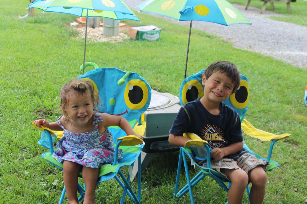 camping kids in chair