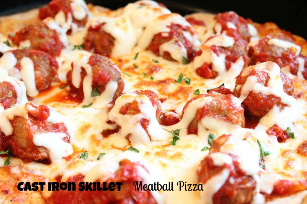 Cast Iron Skillet Meatball Pizza