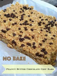 Peanut Butter Chocolate Chip Granola Bars {No Bake}