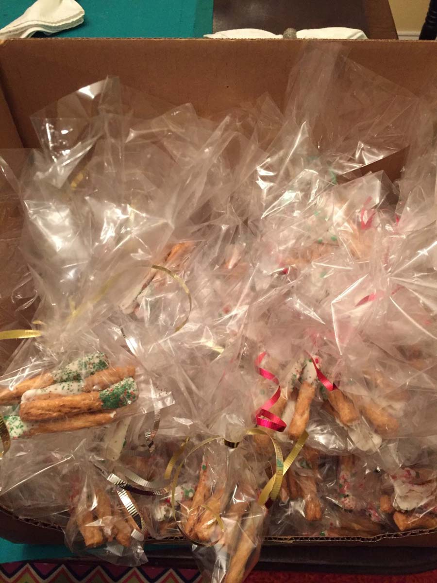 Sixty Bags of Chocolate Pretzels